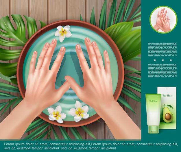 Realistyczny szablon procedury spa z pakietem kremu nawilżającego i kobiecych dłoni przed manicure w misce z wodą i rumiankami
