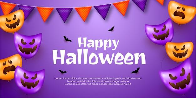Realistyczny szablon projektu happy halloween pionowy baner