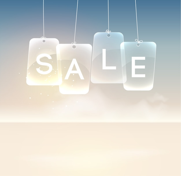 Realistyczny szablon promocyjny z wiszącymi szklanymi tablicami sprzedaży na świetle