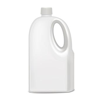 Realistyczny szablon pusta biała plastikowa butelka pusta makieta na detergent, płyn