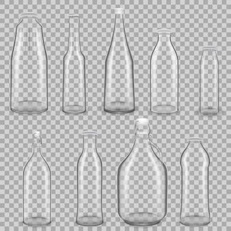 Realistyczny szablon pustych szklanych przezroczystych butelek na napoje z sokiem i mlekiem