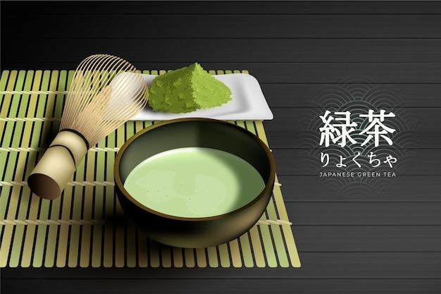Realistyczny szablon reklamy herbaty matcha