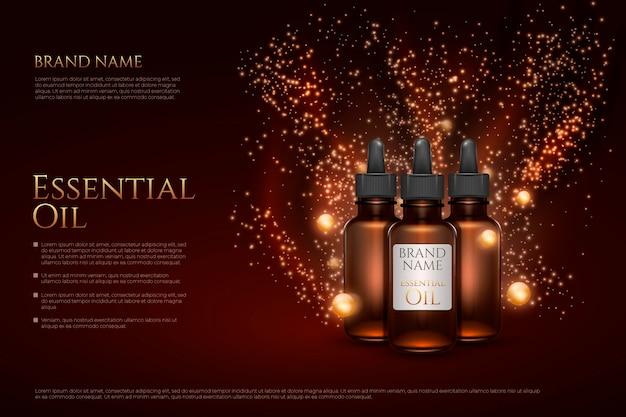 Realistyczny szablon reklamy olejku eterycznego