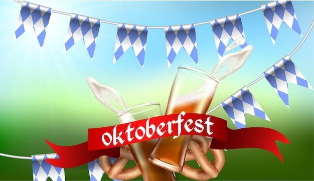 Realistyczny szablon reklamy plusk pianki i piwa ze szklanego kubka, bretzel, flaga bawarii, narodowa tradycja niemiecka, na rozmytym tle oktoberfest