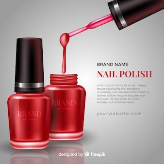 Realistyczny szablon reklamy polski paznokci