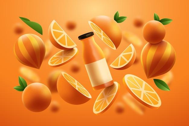 Realistyczny szablon reklamy produktu z butelką soku pomarańczowego