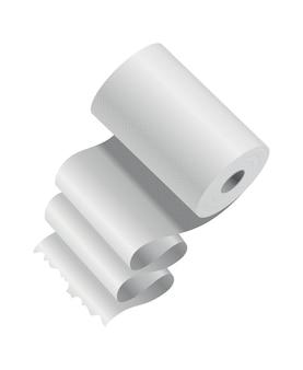 Realistyczny szablon rolki papieru toaletowego lub ręcznika kuchennego