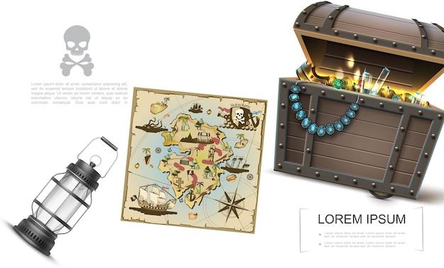 Realistyczny szablon skarbów morskich z mapą piratów skrzynia skarbów pełna złotych monet i biżuterii pierścień diadem latarnia korona kamienie szlachetne