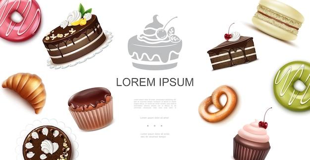 Realistyczny szablon słodkich i pieczonych produktów z muffinowym rogalikiem makaronik pączki babeczka precel ilustracja
