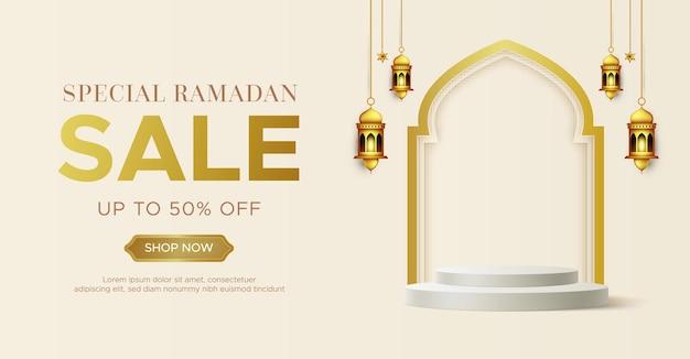 Realistyczny szablon transparent sprzedaży ramadan kareem z podium 3d