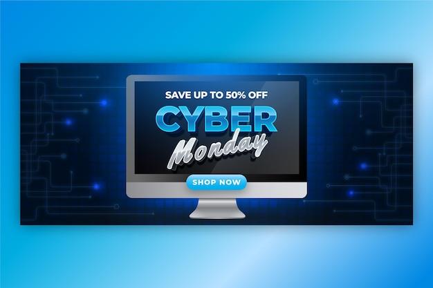 Realistyczny szablon transparentu poziomej sprzedaży cyber poniedziałek