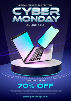 Realistyczny szablon ulotki cyber poniedziałek