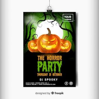 Realistyczny szablon ulotki halloween horror