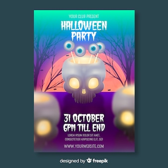Realistyczny szablon ulotki halloween party