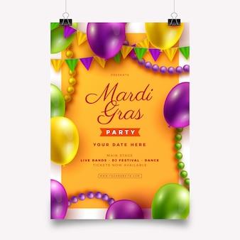 Realistyczny szablon ulotki mardi gras