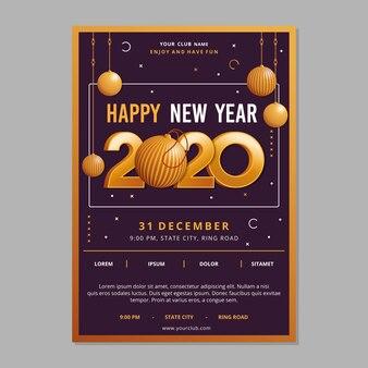 Realistyczny szablon ulotki nowy rok