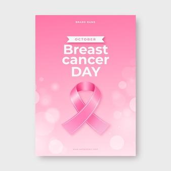 Realistyczny szablon ulotki pionowej miesiąca świadomości raka piersi