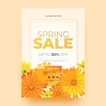 Realistyczny szablon ulotki sprzedaż kwiatowy wiosną