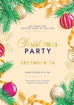 Realistyczny szablon ulotki świąteczne przyjęcie