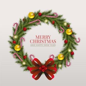 Realistyczny szablon wieniec bożonarodzeniowy