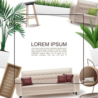 Realistyczny szablon wnętrza domu z ramką na tekst drewniane drzwi kanapa poduszki wiklinowe i krzesła barowe fotel trawa i rośliny w ramie doniczek