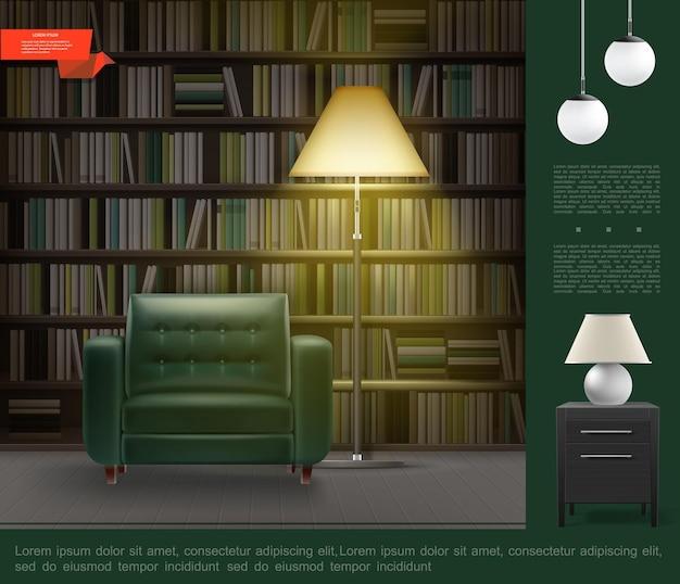 Realistyczny szablon wnętrza pokoju biblioteki domowej z regałem pełnym książek wygodny fotel lampka nocna lampy podłogowe i sufitowe szafka nocna