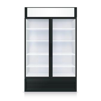 Realistyczny szablon zamrażarki z przezroczystych drzwi i szkła