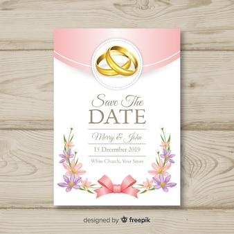 Realistyczny szablon zaproszenia ślubne