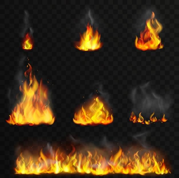 Realistyczny, szczegółowy zestaw płomieni ognia