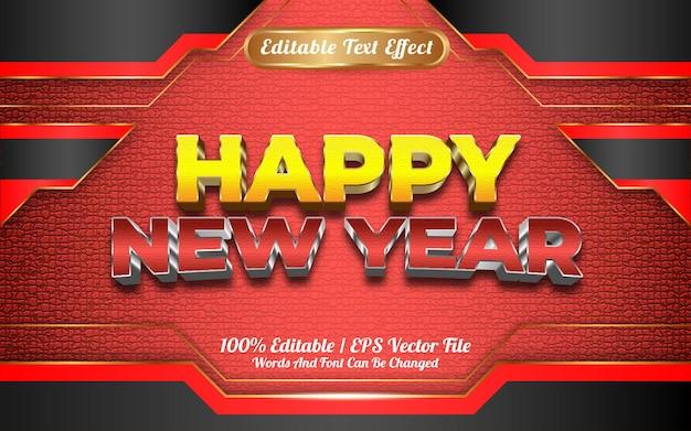 Realistyczny szczęśliwego nowego roku z edytowalnym efektem tekstowym