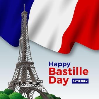 Realistyczny szczęśliwy dzień bastylii z flagą i wieżą eiffla