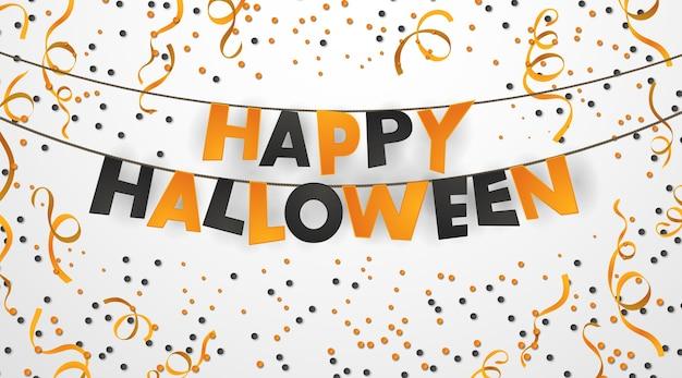 Realistyczny szczęśliwy plakat halloween z wiszącymi literami i pomarańczowym konfetti.