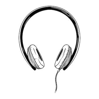 Realistyczny szkic. słuchawki na białym tle. ilustracja