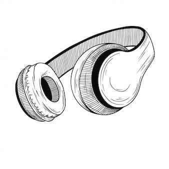Realistyczny szkic. słuchawki na białym tle