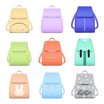 Realistyczny szkolny plecak elegancki zestaw z dziewięcioma odosobnionymi wizerunkami stylowych książkowych toreb dla dziewczyna wektoru ilustraci