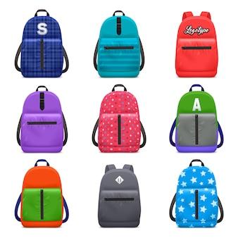 Realistyczny szkolny plecak koloru wzór ustawiający z odosobnionymi wizerunkami dziecko torby z nowożytną tkaniną deseniuje wektorową ilustrację