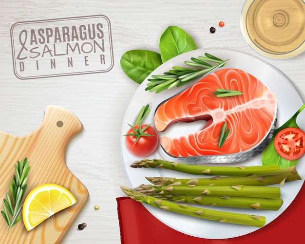 Realistyczny talerz szparagów i łososia