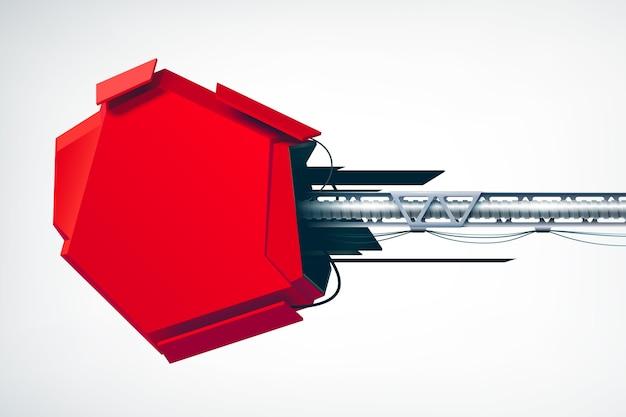 Realistyczny technicznie obiekt high-tech jako część czerwonego elementu reklamy przemysłowej billboardu na białym na białym tle