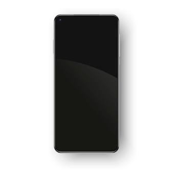 Realistyczny telefon bez ramek na białym tle.