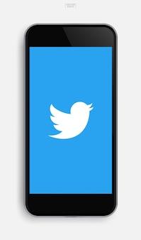 Realistyczny telefon komórkowy z obrazem aplikacji na tle ekranu wyświetlacza. ilustracja wektorowa.
