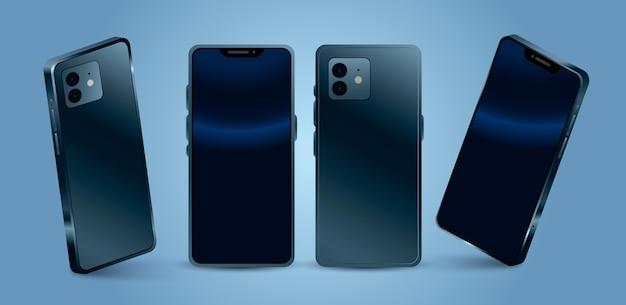 Realistyczny telefon komórkowy z różnych perspektyw