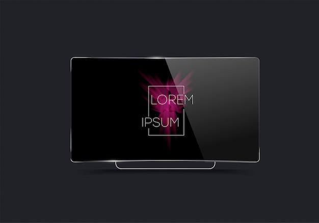 Realistyczny telewizor na czarno. wektor