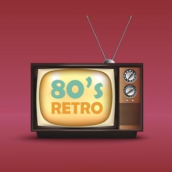Realistyczny telewizor retro w stylu vintage. z tekstem. wektor