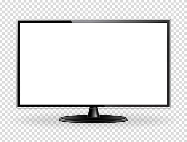 Realistyczny telewizor z płaskim ekranem. nowoczesny panel ścienny lcd typu led, izolowana na białym tle. makieta dużego monitora komputerowego. pusty szablon telewizji. element projektu graficznego. ilustracja wektorowa