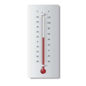 Realistyczny termometr meteorologiczny celsjusza i fahrenheita do pomiaru ciepła i zimna.