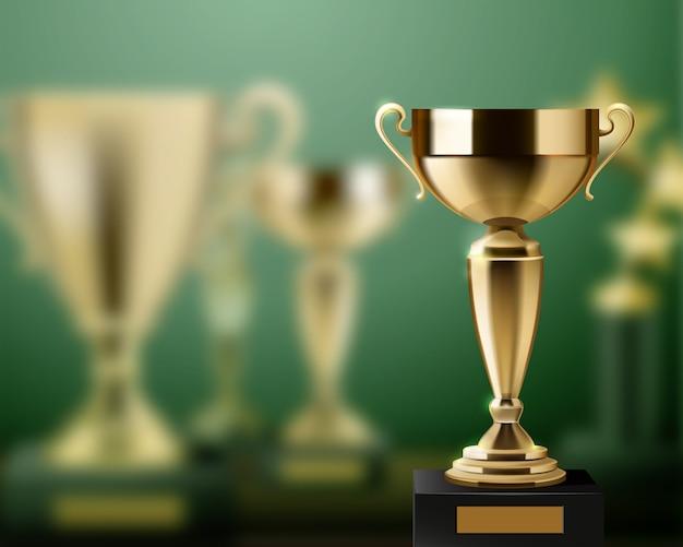 Realistyczny tło z błyszczącym złotym trofeum nagradza filiżanki