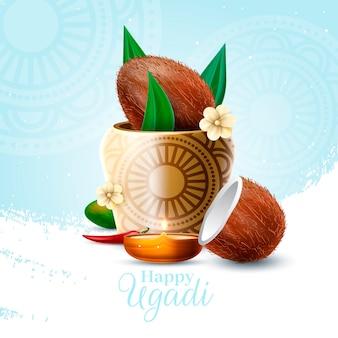 Realistyczny tradycyjny wazon dekoracyjny ugadi
