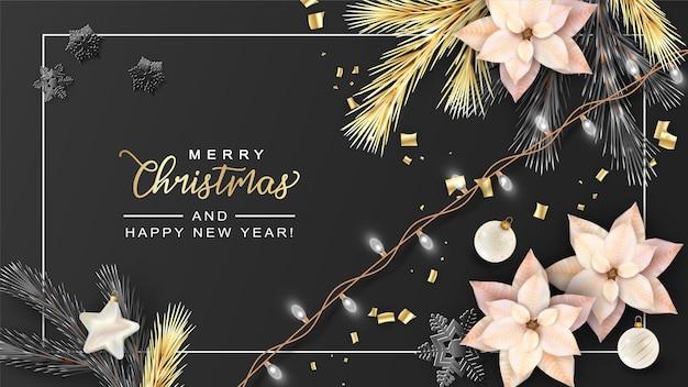 Realistyczny transparent boże narodzenie i nowy rok