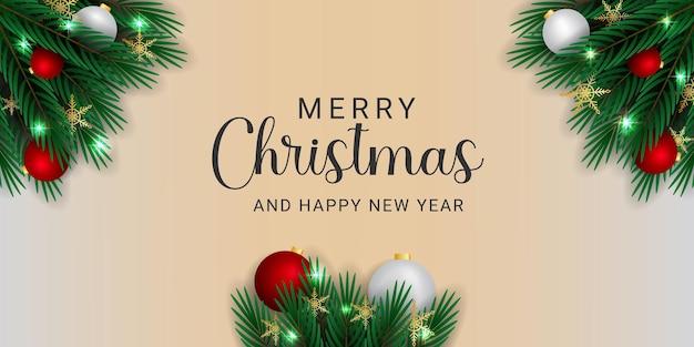 Realistyczny transparent bożonarodzeniowy z gałęziami złote płatki śniegu białe i czerwone kulkowe lampki świąteczne