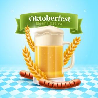 Realistyczny transparent oktoberfest z kuflem piwa i wurstem